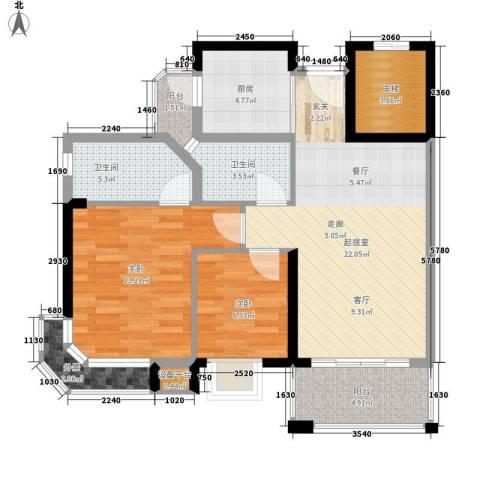 花样年华2室0厅2卫1厨78.00㎡户型图