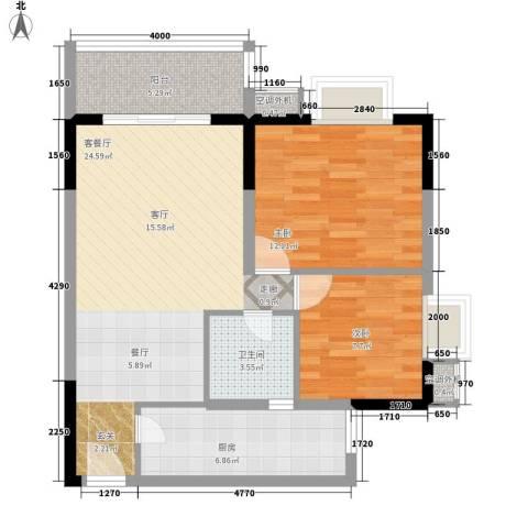 升伟新时空2室1厅1卫1厨67.00㎡户型图