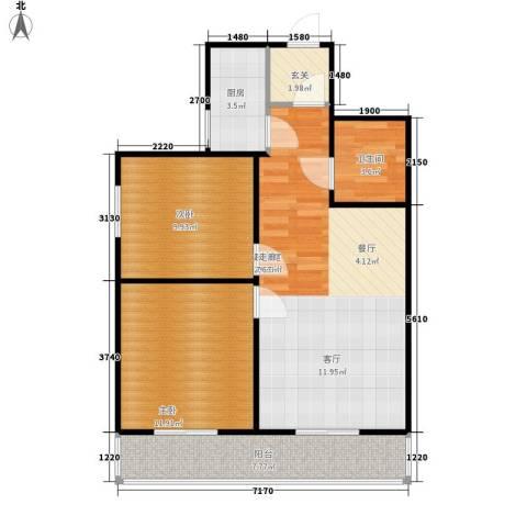 太白庭院2室0厅1卫1厨68.00㎡户型图