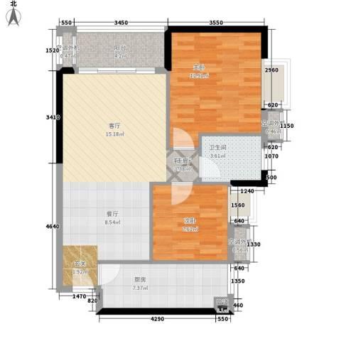 升伟新时空2室1厅1卫1厨69.00㎡户型图
