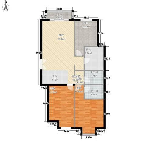 丽都壹号2室0厅2卫1厨118.00㎡户型图