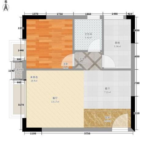 升伟新时空1室0厅1卫1厨48.00㎡户型图