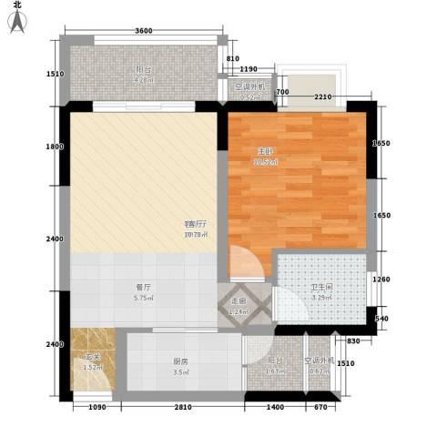 升伟新时空1室1厅1卫1厨45.00㎡户型图