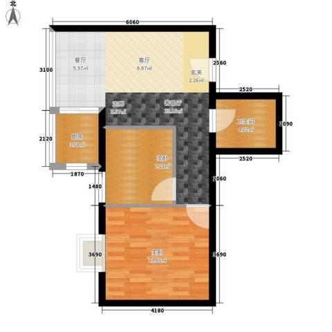 蔚蓝印象2室1厅1卫1厨59.00㎡户型图