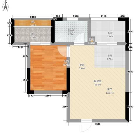 湘核佳苑1室0厅1卫1厨63.00㎡户型图