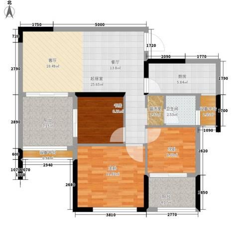 长大彩虹都3室0厅1卫1厨104.00㎡户型图