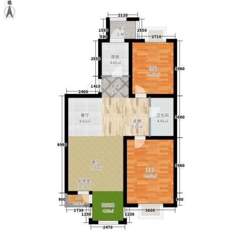 第六大道第博雅园2室0厅1卫1厨99.00㎡户型图