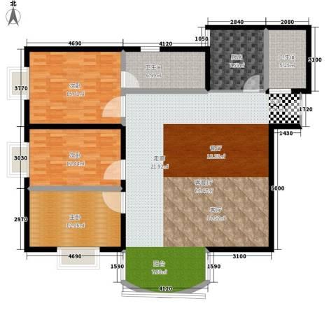 仙湖名苑3室1厅2卫1厨136.00㎡户型图