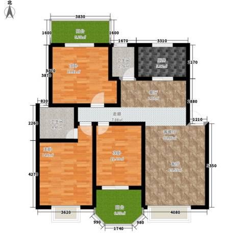 紫薇苑3室1厅2卫1厨113.00㎡户型图