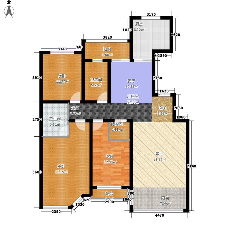 辰能溪树庭院二期B2-03户型3室2厅