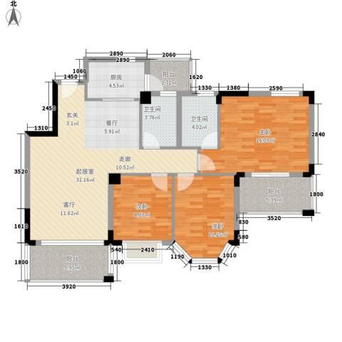 花样年华3室0厅2卫1厨104.00㎡户型图