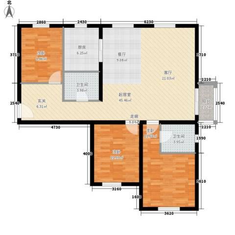 双龙小区3室0厅2卫1厨135.00㎡户型图