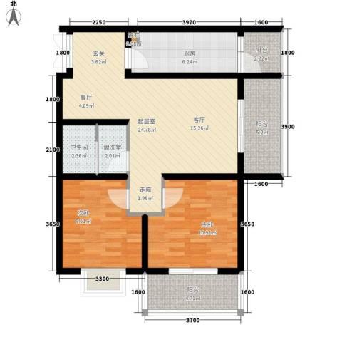 创鸿果粒城2室0厅1卫1厨86.00㎡户型图