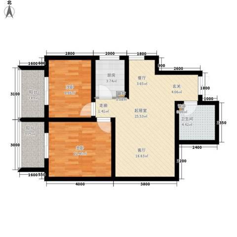 创鸿果粒城2室0厅1卫1厨83.00㎡户型图