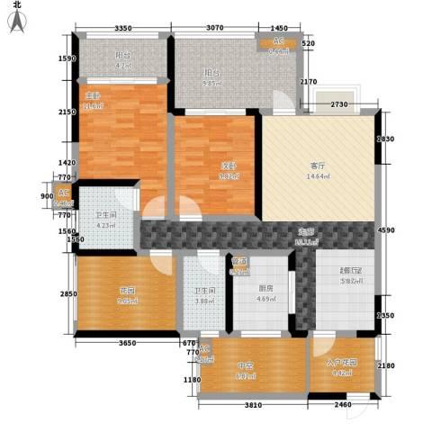 蓝光凯丽香江2室0厅2卫1厨109.00㎡户型图