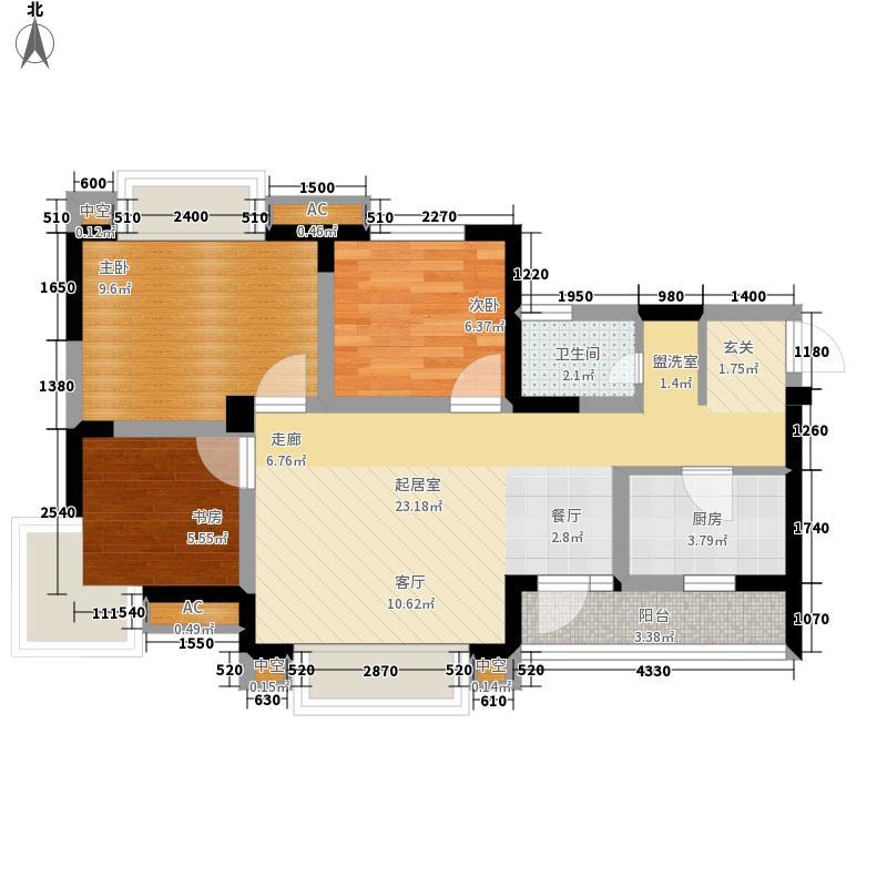 西郡英华二期92.77㎡二期4号楼标准层H2户型
