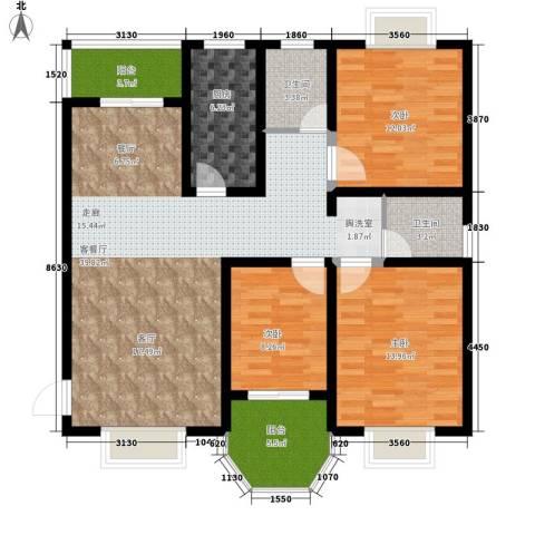 紫薇苑3室1厅2卫1厨110.00㎡户型图