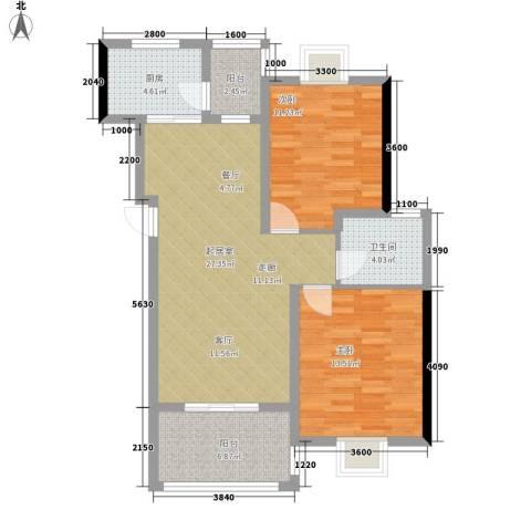 景江雅苑2室0厅1卫1厨88.00㎡户型图