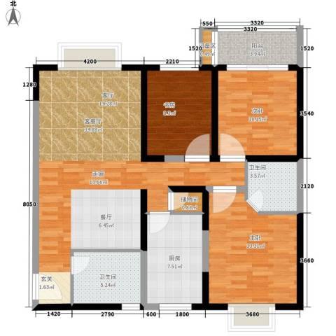 菁华名门3室1厅2卫1厨122.00㎡户型图