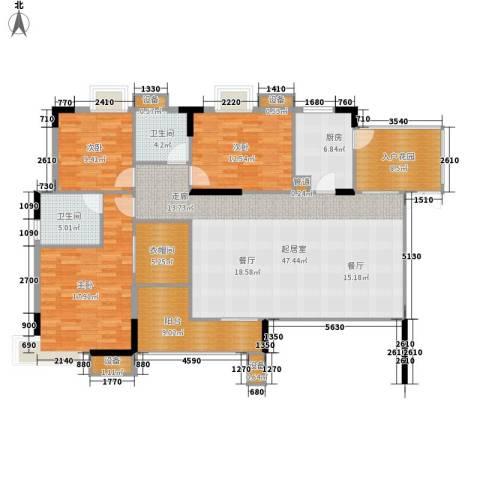美力盈彩花苑3室0厅2卫1厨141.58㎡户型图