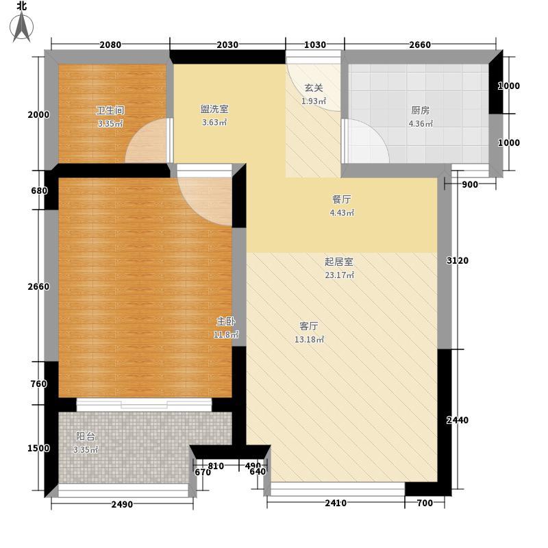 荣盛阿尔卡迪亚62.00㎡14+15-2一面积6200m户型