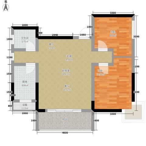 南颐园2室0厅1卫1厨93.00㎡户型图