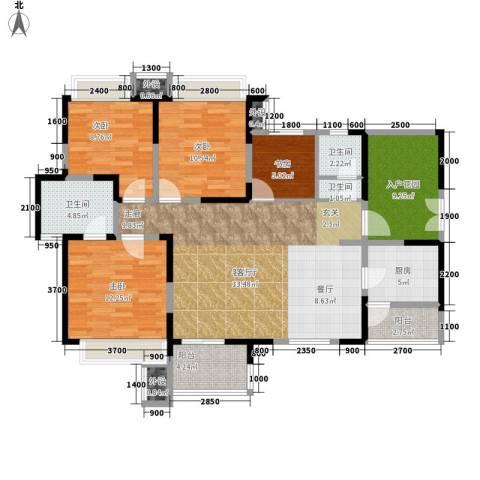 领馆国际城4室1厅3卫1厨118.00㎡户型图