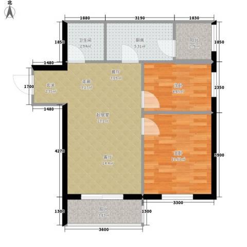 花漾年华2室0厅1卫1厨70.00㎡户型图