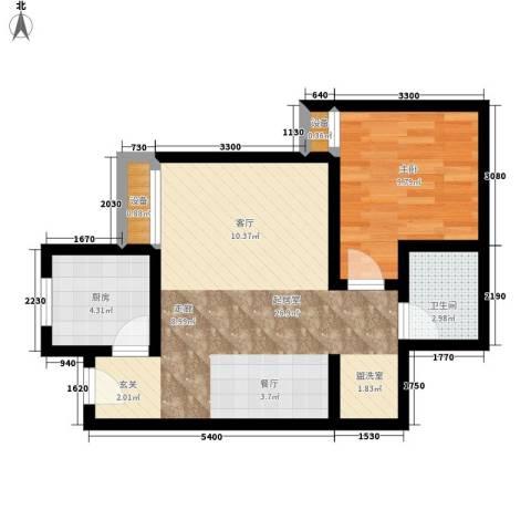 晶筑逸品1室0厅1卫1厨58.00㎡户型图