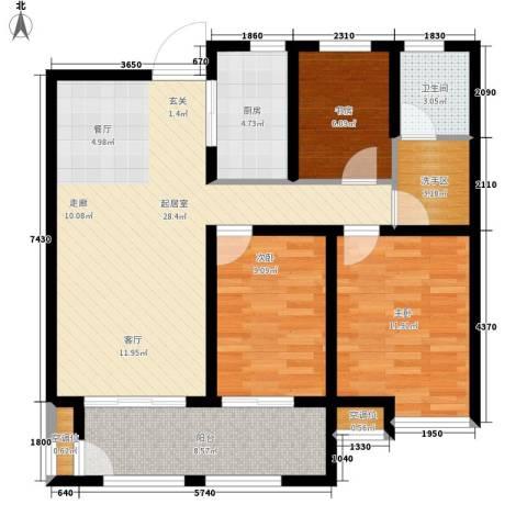 鄂教小区3室0厅1卫1厨111.00㎡户型图
