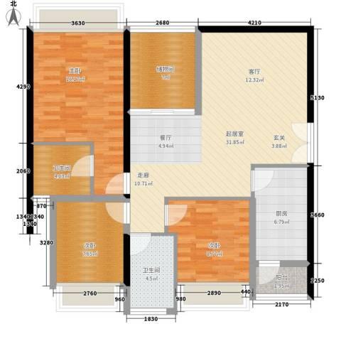 中海蓝湾3室0厅2卫1厨126.00㎡户型图