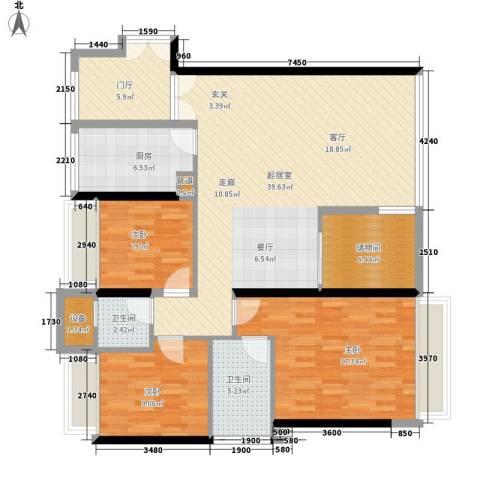 中海蓝湾3室0厅2卫1厨144.00㎡户型图