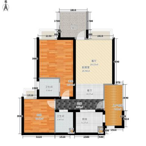 玲珑南域2室0厅2卫1厨96.00㎡户型图