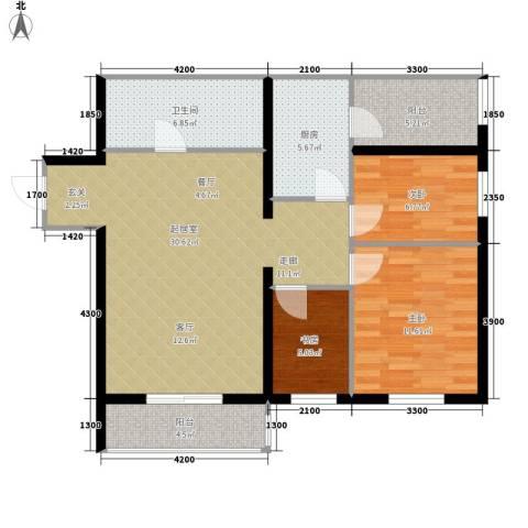 花漾年华3室0厅1卫1厨95.00㎡户型图