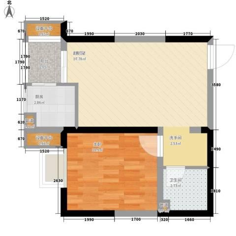 幸福美地1室0厅1卫1厨59.00㎡户型图