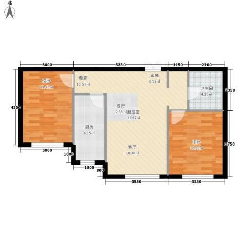 简易新村2室0厅1卫1厨80.00㎡户型图