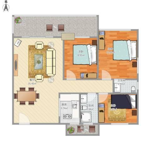 雅居苑3室1厅2卫1厨111.00㎡户型图