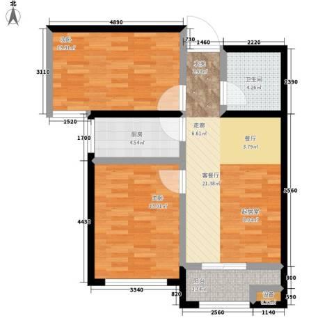 东城景苑2室1厅1卫1厨88.00㎡户型图