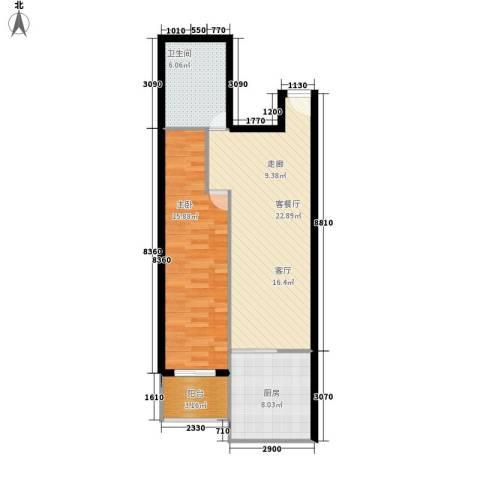 怡景嘉园1室1厅1卫1厨78.00㎡户型图