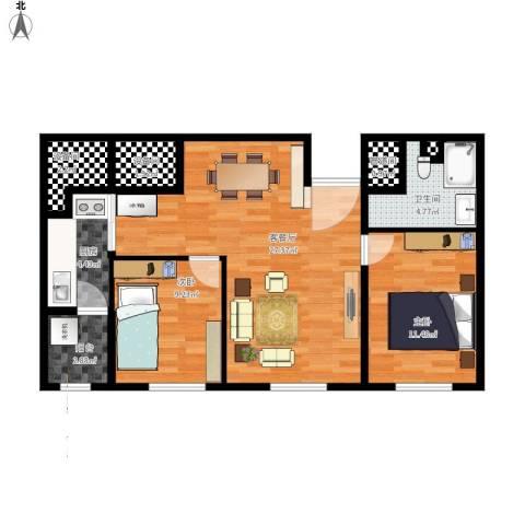 国宝星月湾2室1厅1卫1厨93.00㎡户型图