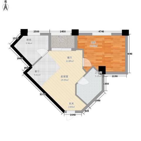 汇金国际公寓1室0厅1卫1厨70.00㎡户型图