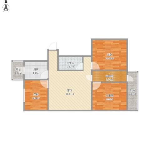 西辛北区3室1厅1卫1厨87.00㎡户型图