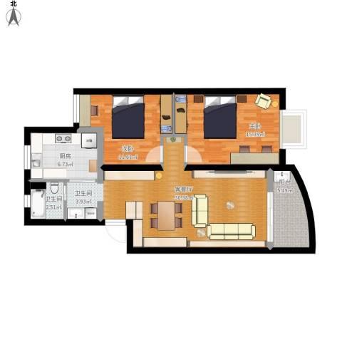 静安花苑2室1厅1卫1厨104.00㎡户型图