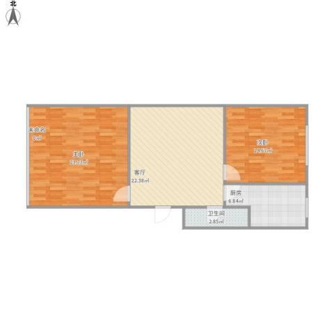 建材城西一里2室1厅1卫1厨74.97㎡户型图
