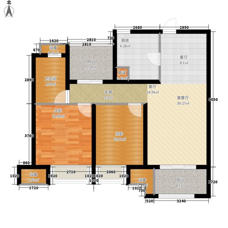 中海8号公馆88.00㎡33#高层标准面积8800m户型-副本