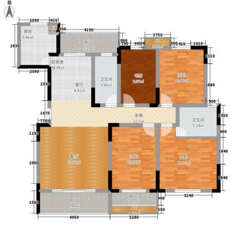 湘核佳苑4室0厅2卫1厨175.00㎡户型图
