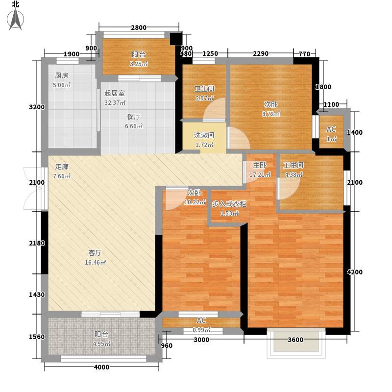 卧龙丽景湾128.00㎡1J户型3室2厅