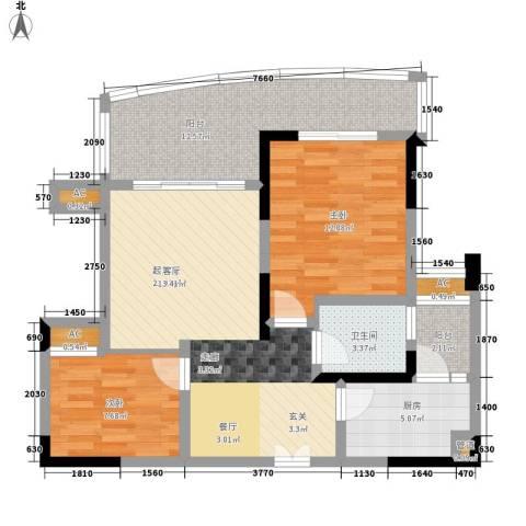 西江月2室0厅1卫1厨76.00㎡户型图