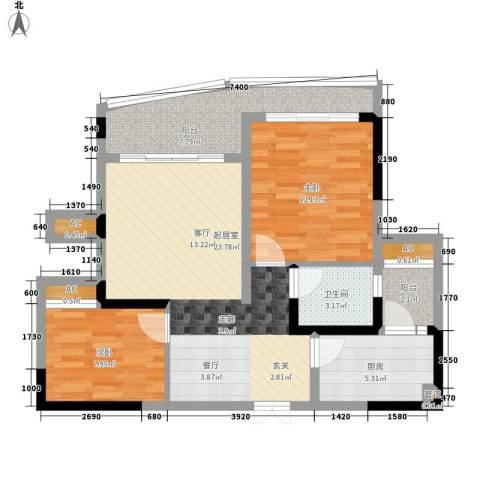 西江月2室0厅1卫1厨75.00㎡户型图