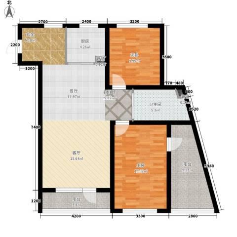 万嘉国际2室1厅1卫1厨119.00㎡户型图